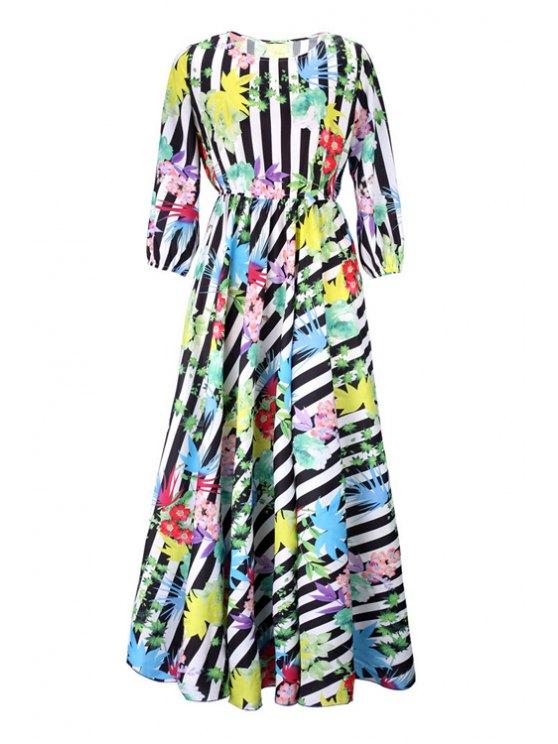 trendy 3/4 Sleeve Striped Leaf Print Maxi Dress - COLORMIX S