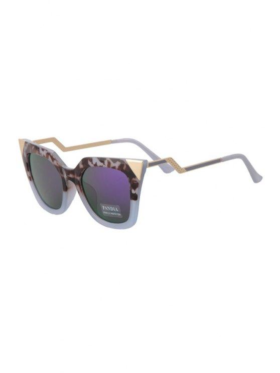 lady Leopard Splice Cat Eye Shape Frame Sunglasses - PURPLE