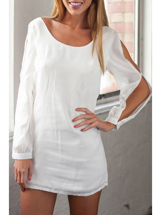 buy White Hollow Out Long Sleeve Dress - WHITE ONE SIZE(FIT SIZE XS TO M)