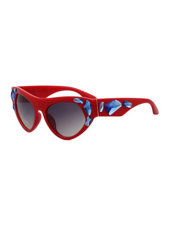 ladies Faux Gem Solid Color Frame Sunglasses - RED
