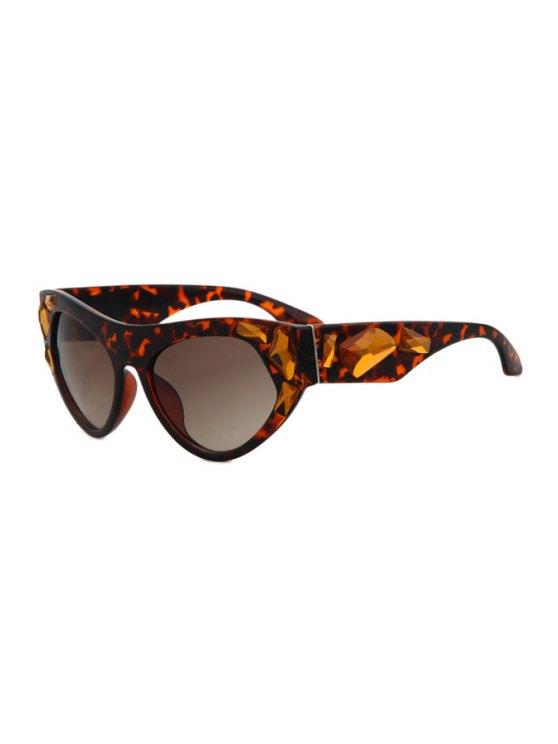 new Faux Gem Leopard Frame Sunglasses - BROWN