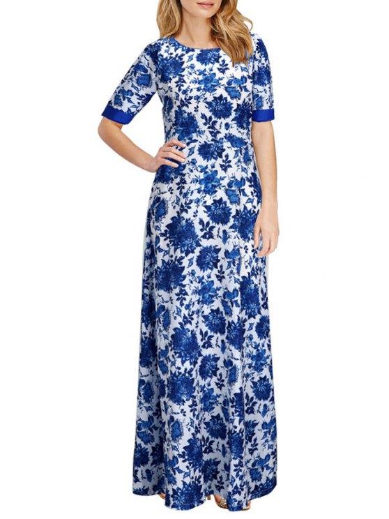 online Blue and White Porcelain Print Maxi Dress - BLUE L
