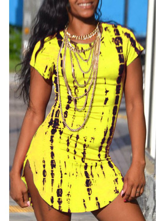 trendy Print Short Sleeve Bodycon Dress - YELLOW ONE SIZE(FIT SIZE XS TO M)