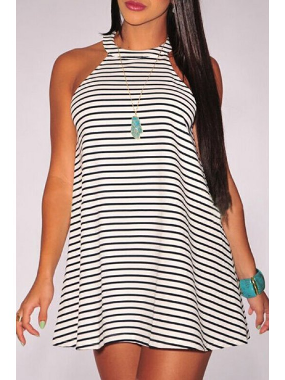 shops Striped Round Neck Sleeveless Dress - WHITE AND BLACK ONE SIZE(FIT SIZE XS TO M)