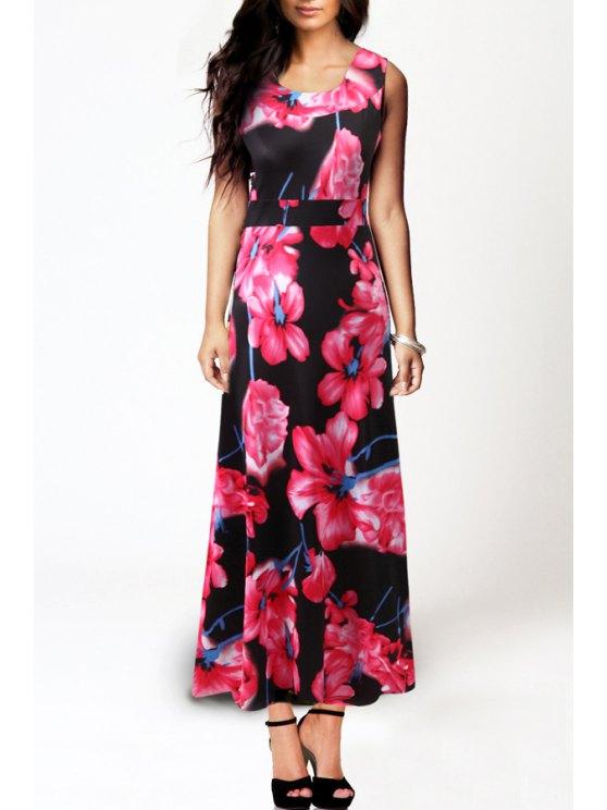 trendy Sleeveless Floral Print Spliced Maxi Dress - PINK S
