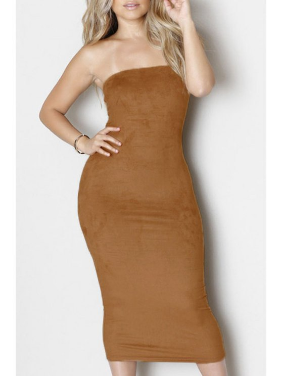 sale Solid Color Strapless Bodycon Dress - KHAKI ONE SIZE(FIT SIZE XS TO M)