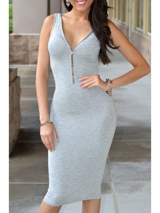 buy Gray V Neck Sleeveless Bodycon Dress - GRAY ONE SIZE(FIT SIZE XS TO M)