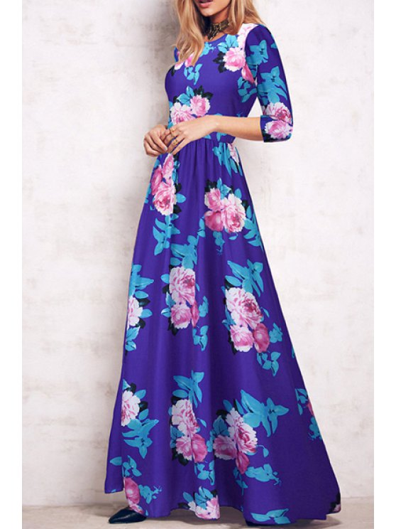 online Floral Print Fit and Flare Maxi Dress - BLUE S
