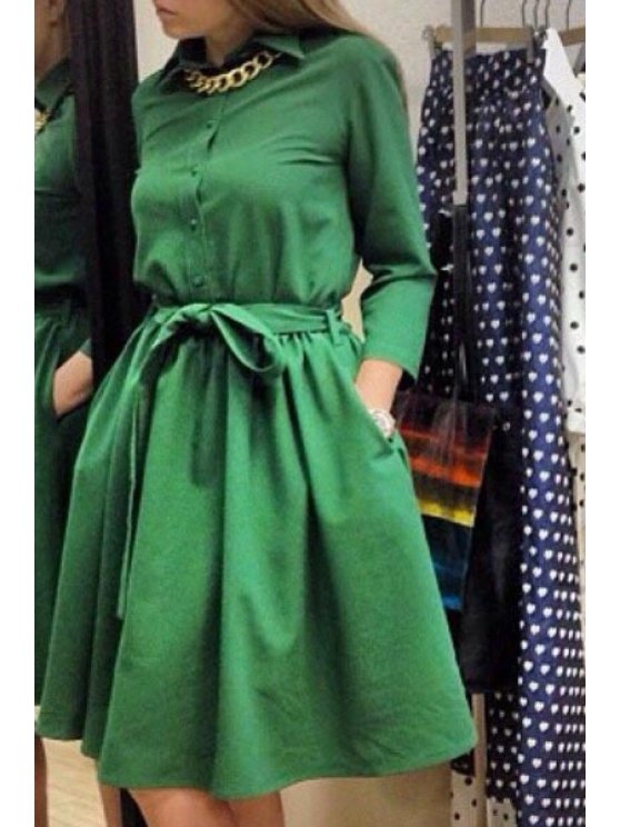fancy Turn-Down Collar Solid Color Belt Dress - GREEN M