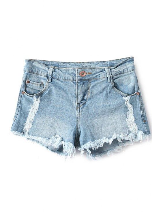 women's Broken Hole Low Waisted Denim Shorts - LIGHT BLUE 34