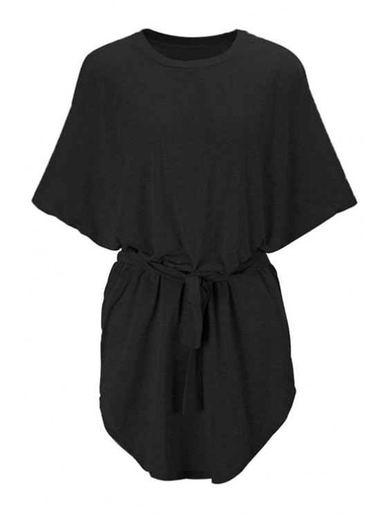 trendy Batwing Sleeve Solid Color Loose-Fitting Dress - BLACK S