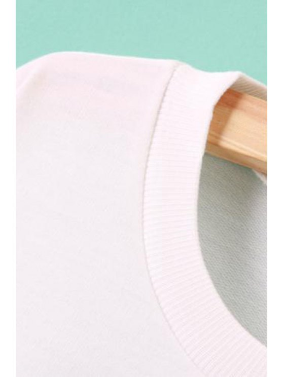 Long Sleeve Geometric Print White Sweatshirt - WHITE XL Mobile