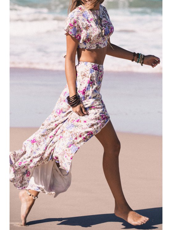 shop Tiny Floral Print Crop Top + Long Skirt - AS THE PICTURE S