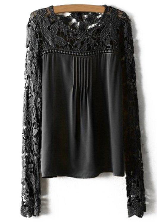 الكروشيه زهرة الربط الأكمام الطويلة بلوزة - أسود XL