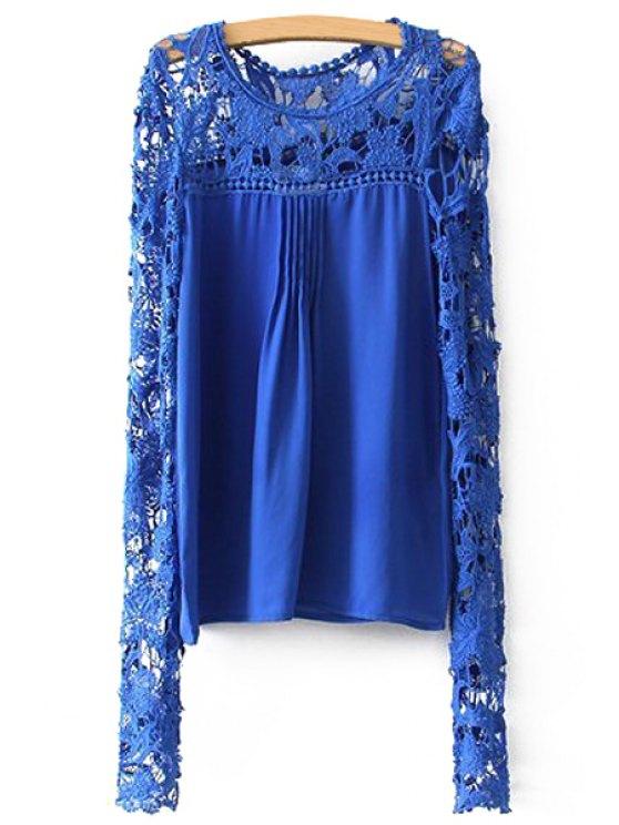 trendy Crochet Flower Splicing Long Sleeves Blouse - BLUE XL