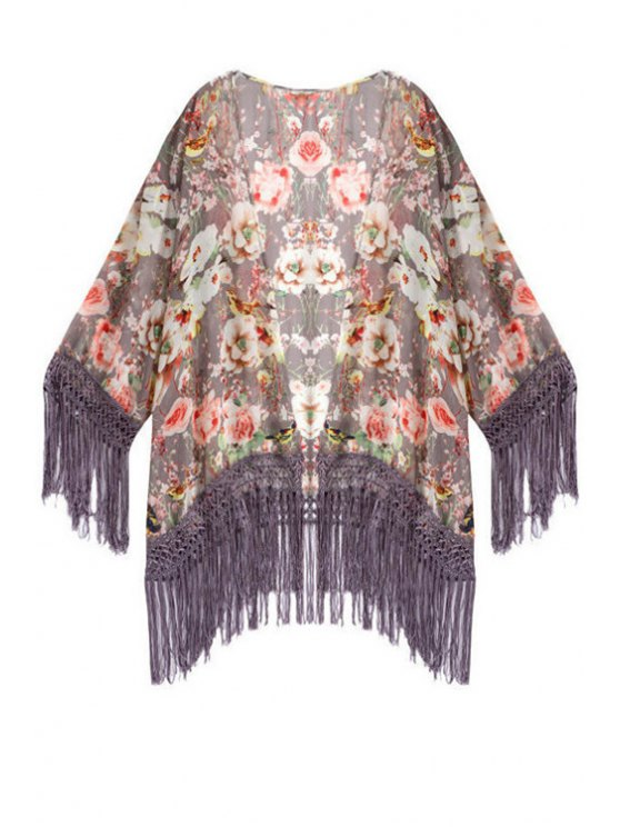 new Collarless Floral Tassel Splicing Long Sleeve Kimono - COLORMIX S