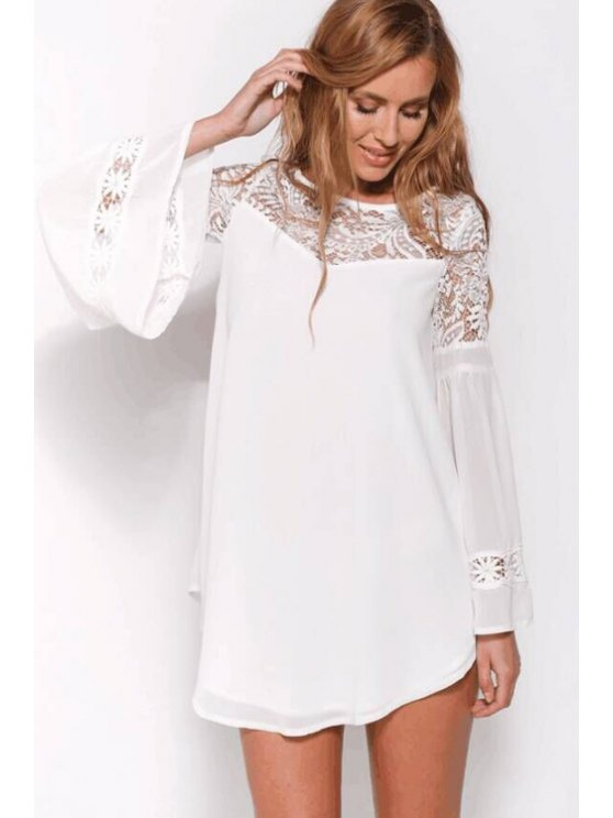 affordable Flare Sleeve Lace Spliced Chiffon Dress - WHITE S
