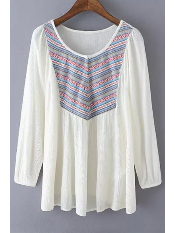 sale Long Sleeve Ethnic Embroidery Blouse - WHITE S