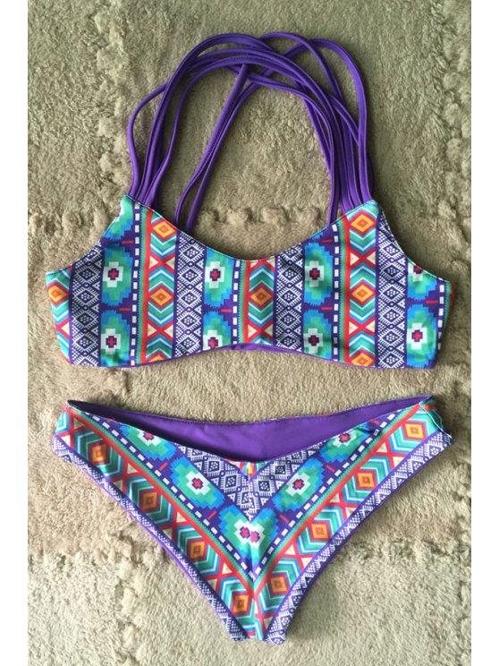 women Spaghetti Strap Colorful Geometric Print Bikini Set - COLORMIX S