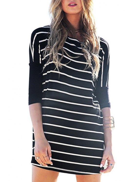 women's Half Sleeve Striped Loose-Fitting Dress - BLACK S