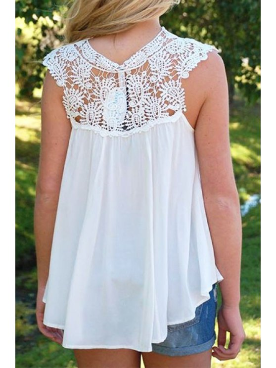 outfits Lace Splicing See-Through Sleeveless Tank Top - WHITE S