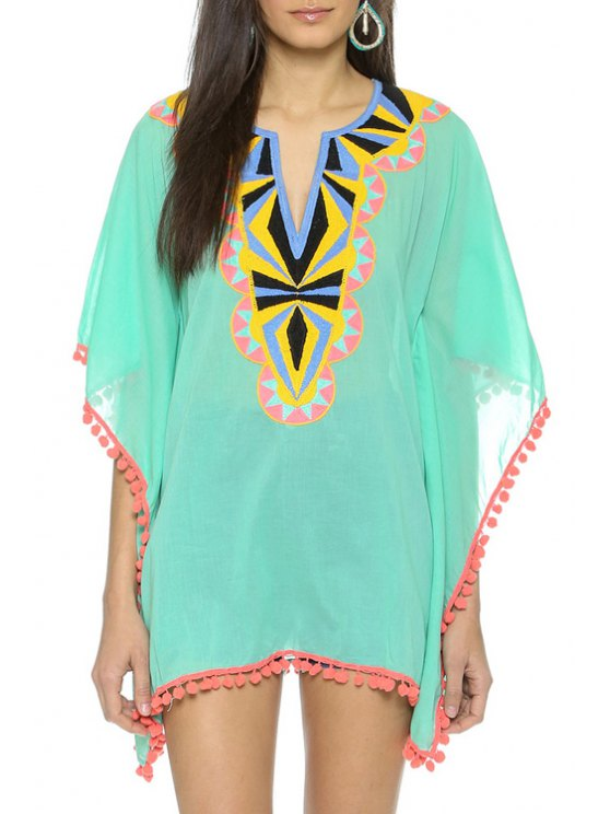 hot Embroidered See-Through Chiffon Cover-Up - BLUE AND GREEN ONE SIZE(FIT SIZE XS TO M)