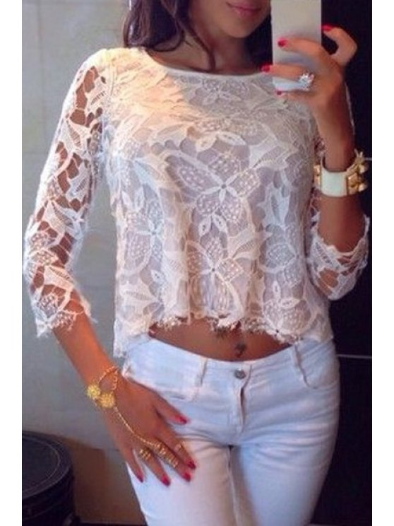 trendy See-Through Floral Pattern 3/4 Sleeve T-Shirt - WHITE S