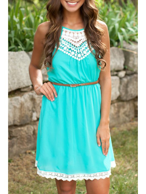 outfit Spaghetti Strap White Lace Splicing Dress - GREEN S