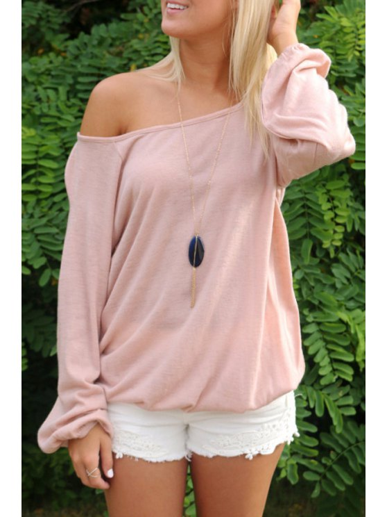 unique One Shoulder Backless Cross Long Sleeve T-Shirt - PINK S
