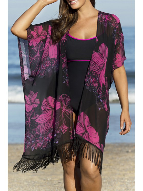 fashion Floral Print Tassels Spliced Chiffon Cover-Up - BLACK ONE SIZE(FIT SIZE XS TO M)