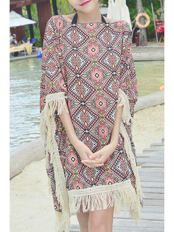 affordable Ethnic Pattern Tassels Chiffon Cover-Up - PINK ONE SIZE(FIT SIZE XS TO M)