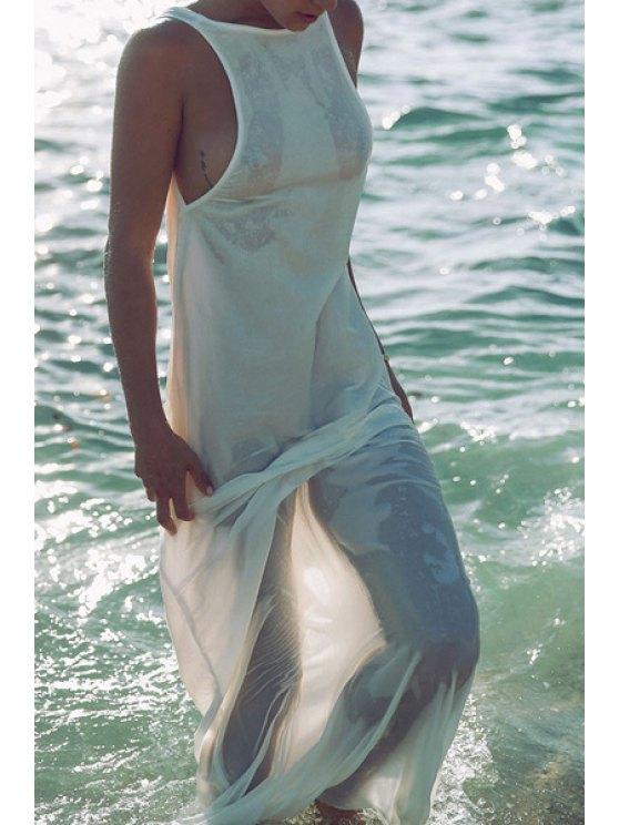 buy Backless Loose-Fitting Long White Cover-Up - WHITE ONE SIZE(FIT SIZE XS TO M)