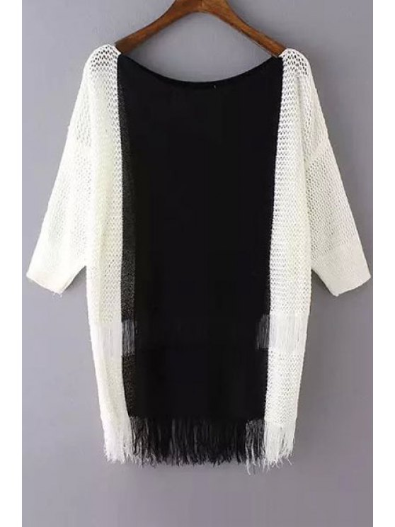 trendy White Black Splicing Half Sleeve Sweater - WHITE ONE SIZE(FIT SIZE XS TO M)
