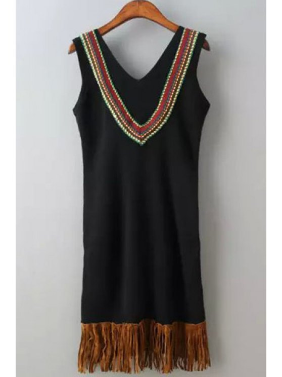 women's V Neck Tassel Splicing Embroidery Sleeveless Dress - BLACK ONE SIZE(FIT SIZE XS TO M)