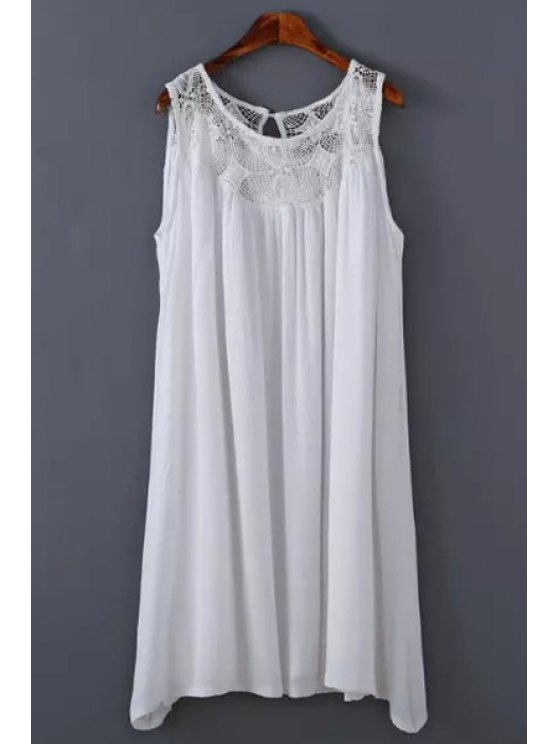 chic Crochet Flower Spliced Scoop Neck Sundress - WHITE S