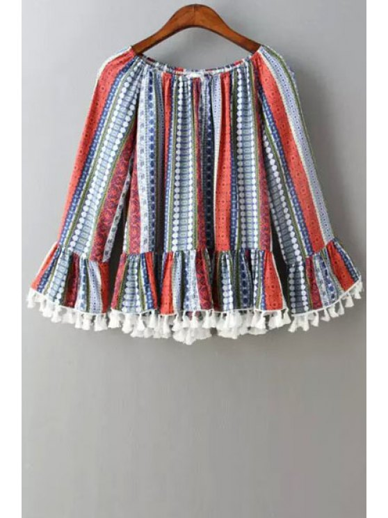trendy Colorful Stripe Tassel Splicing Long Sleeve Blouse - RED ONE SIZE(FIT SIZE XS TO M)