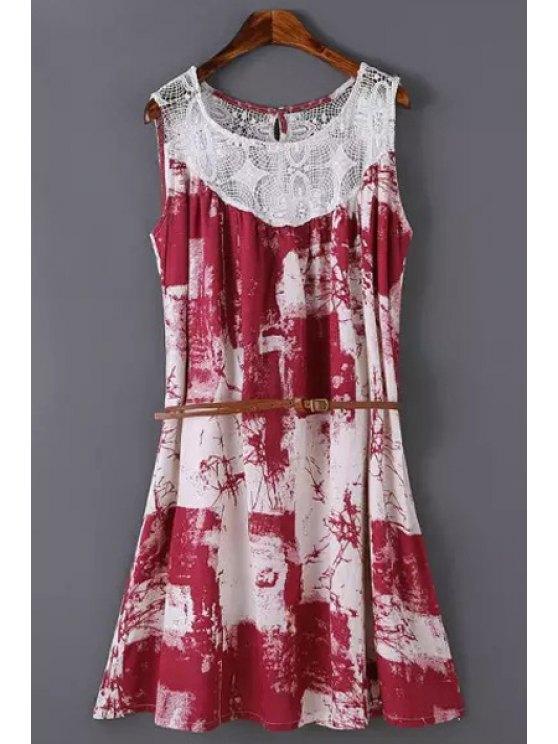 sale Print Crochet Spliced Scoop Neck Sundress - RED S