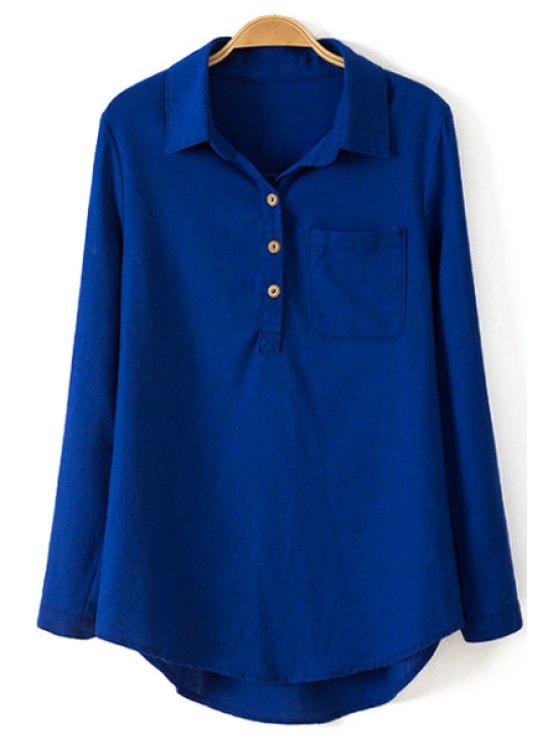 online Pure Color Linen Long Sleeve Shirt - BLUE S