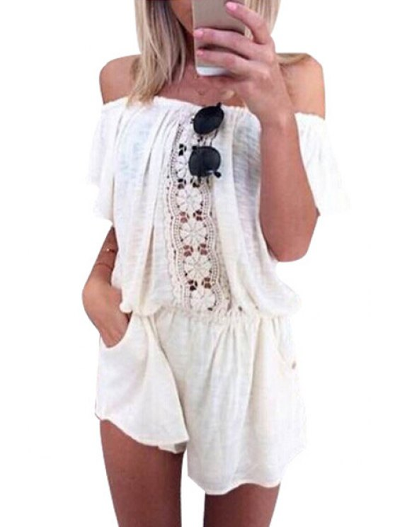best Off-The-Shoulder Lace Spliced White Romper - WHITE S