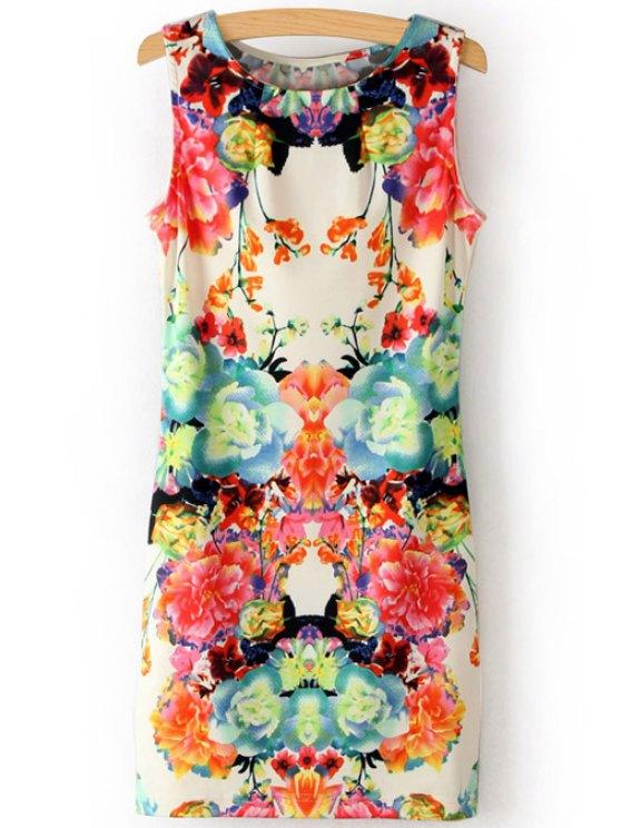 online Scoop Neck Flower Print Sundress - COLORMIX S
