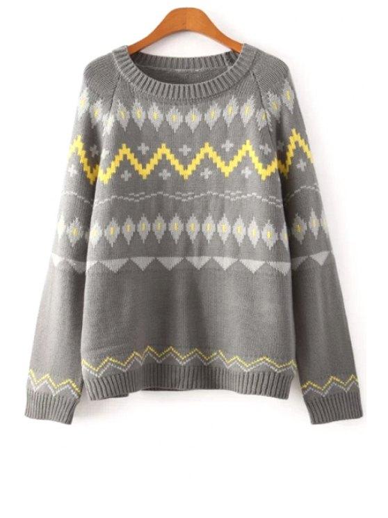 shop Geometric Pattern Long Sleeve Pullover Sweater - GRAY S
