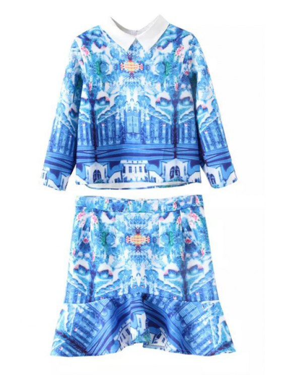 unique Polo Collar Printed 3/4 Sleeve Blouse + Skirt - BLUE S
