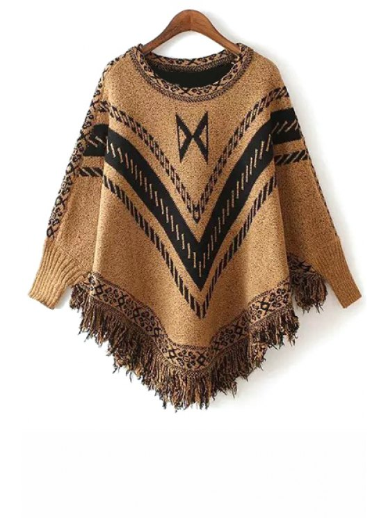 sale Stripe Fringe Splicing Long Sleeve Sweater - YELLOW ONE SIZE(FIT SIZE XS TO M)