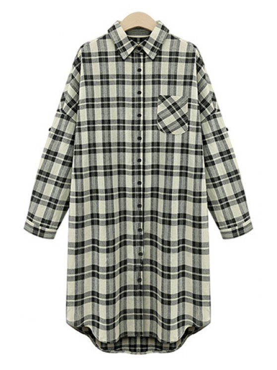 trendy Draped Sleeve Single-Breasted Plaid Midi Dress - WHITE AND BLACK XL