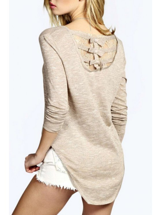 chic Long Sleeve Lace Spliced High Low T-Shirt - OFF-WHITE S