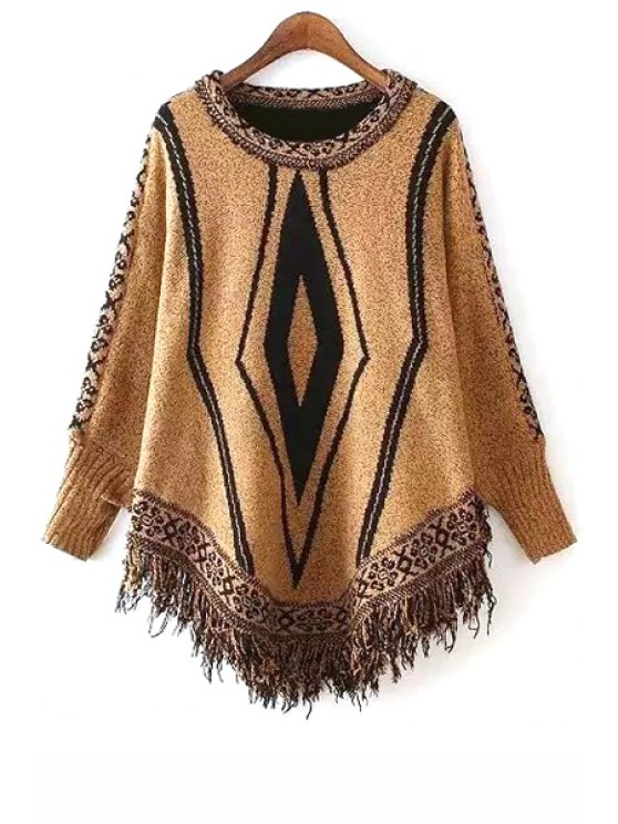 womens Argyle Fringe Splicing Long Sleeve Sweater - YELLOW ONE SIZE(FIT SIZE XS TO M)
