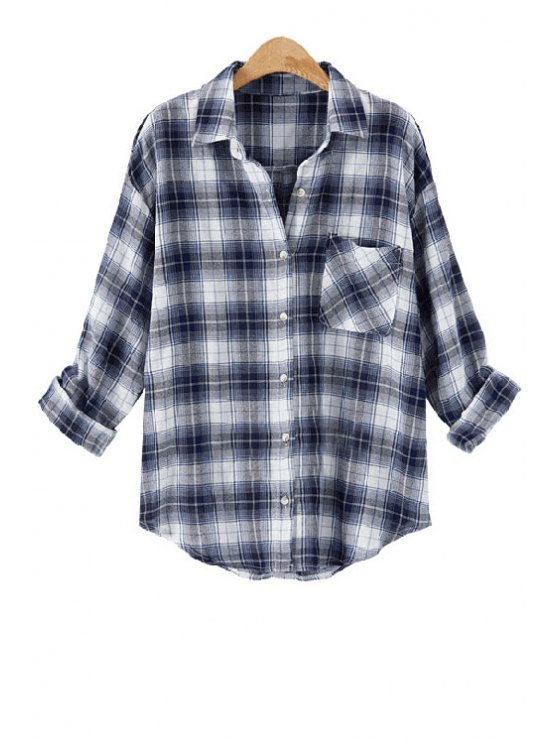 outfits Long Sleeve Plaid Single-Breasted Shirt - BLUE AND WHITE 2XL