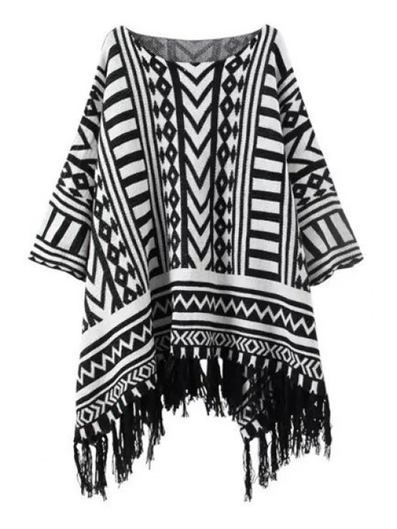 women's White Black Geometric Pattern Long Sleeve Sweater - WHITE AND BLACK ONE SIZE(FIT SIZE XS TO M)