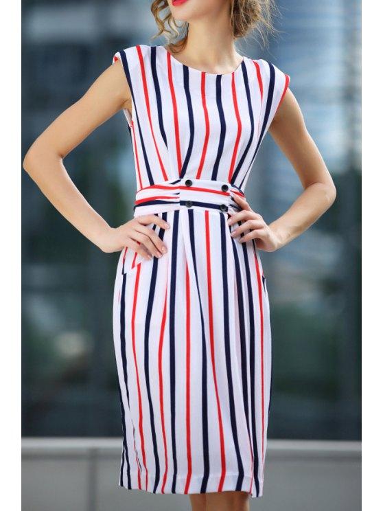 sale Sleeveless Vertical Stripes Tie-Up Dress - WHITE S