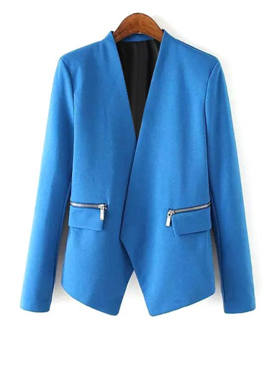new V Neck Zipper Pocket Long Sleeve Blazer - BLUE S